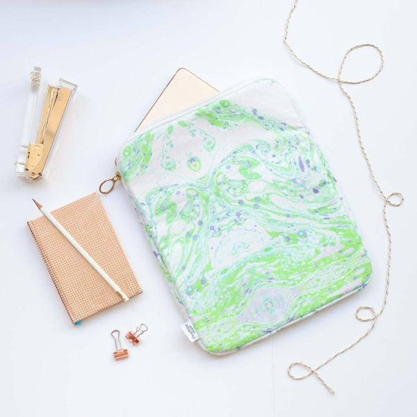 Neon Green Marble iPad Case by Penelope Hope