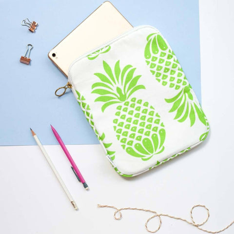 Green Pineapple Print Tablet or iPad Case by Penelope Hope