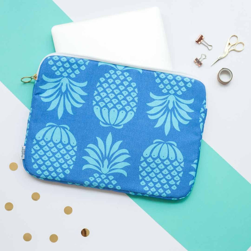 Blue Pineapple Laptop Case by Penelope Hope