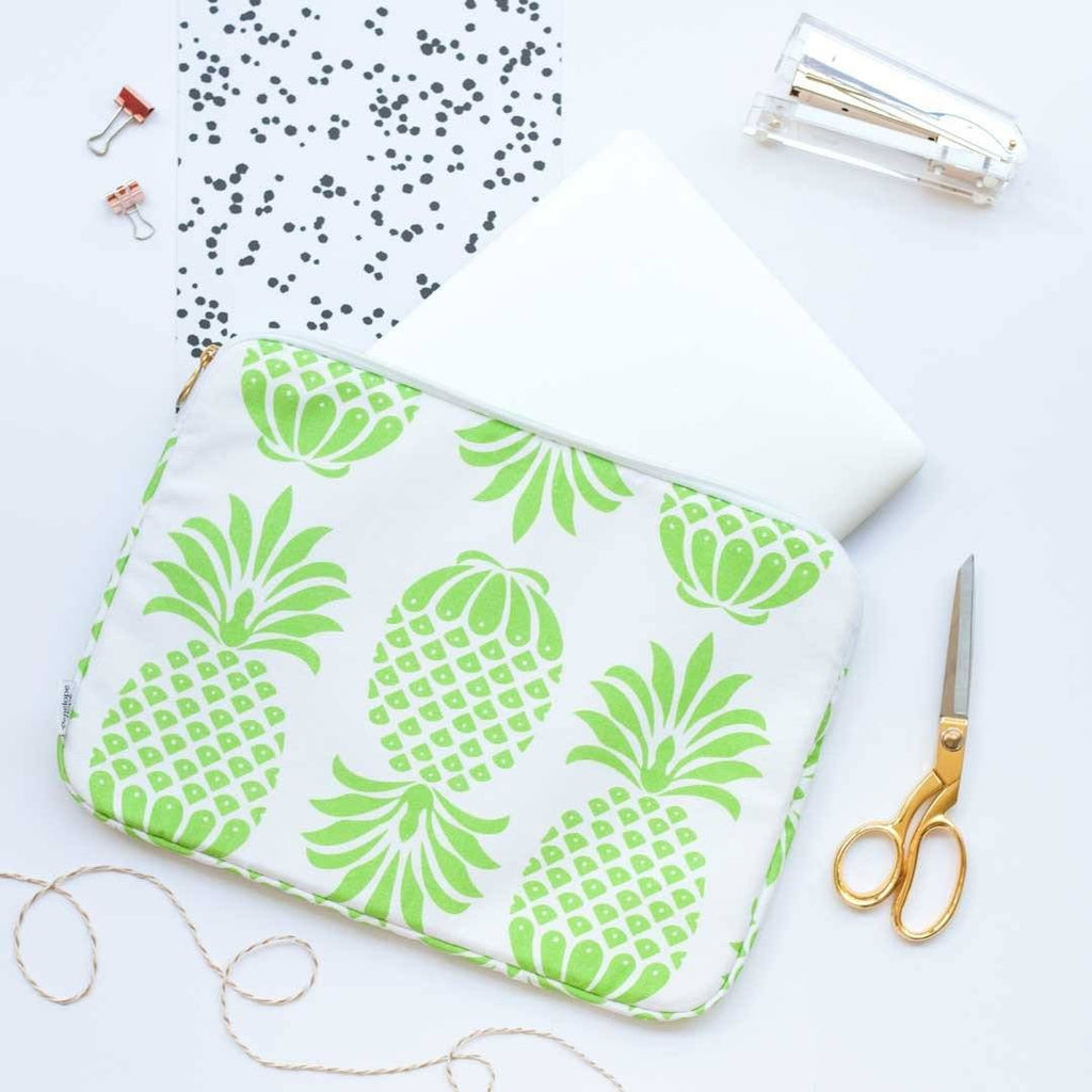 Green Pineapple Print Laptop Case by Penelope Hope
