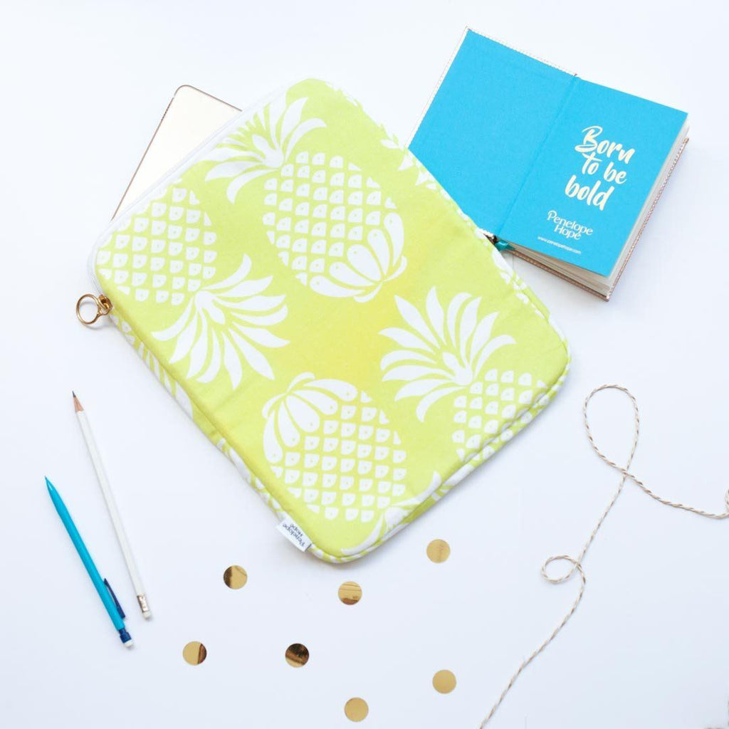 Yellow Pineapple Print Tablet or iPad Case by Penelope Hope