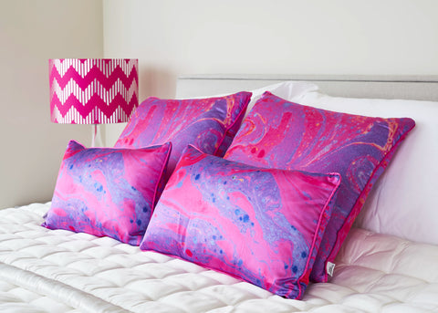Magenta Pink Marble Silk Cushion | Penelope Hope
