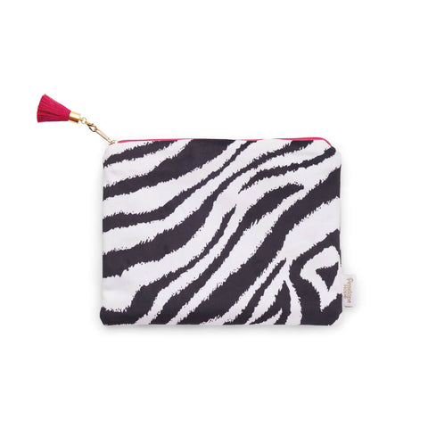 Black and White Zebra Stripe Zip Pouch by Penelope Hope
