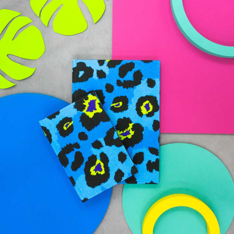 Blue Leopard Print Notebooks