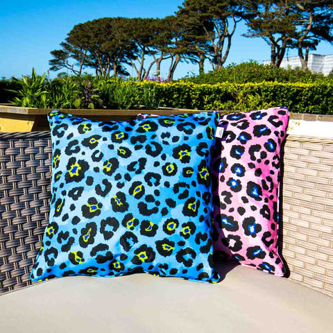 Blue Leopard Print Outdoor Cushion