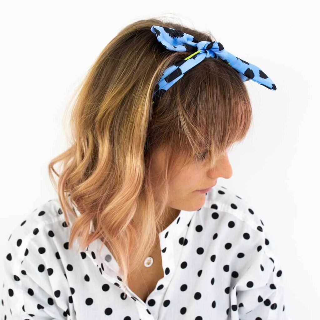 Blue Leopard Print Silk Headscarf