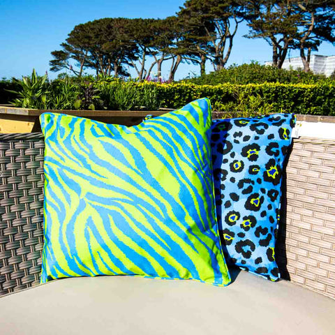 Blue & Lime Zebra Print Outdoor Cushion