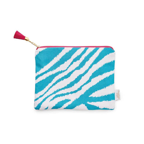 Teal Zebra Print Zip Pouch by Penelope Hope
