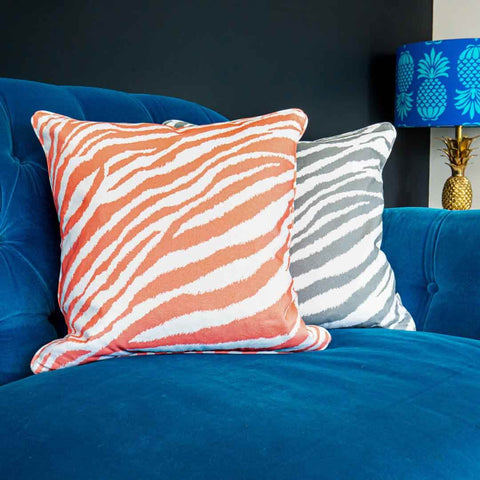 Coral Zebra Print Cushion