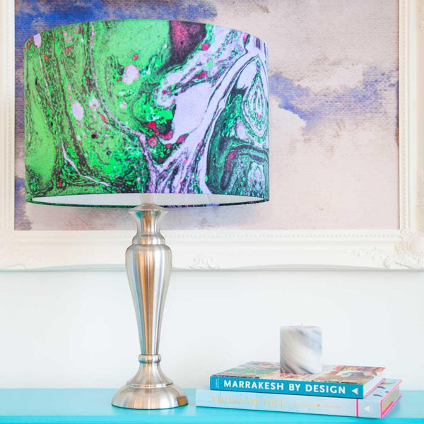 Malachite Green Marble Lampshade in silk fabric by Penelope Hope