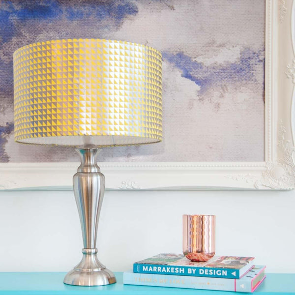 Triangle Yellow Silk Gunmetal Metallic Lampshade by Penelope Hope