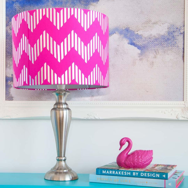 Chevron Pink Silk Metallic Silver Lampshade by Penelope Hope