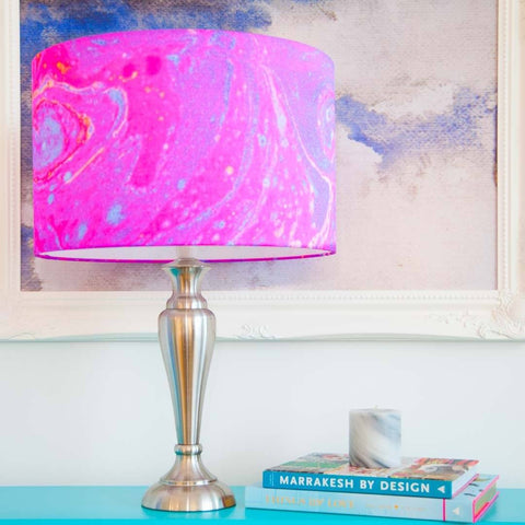 Magenta Marble Lampshade in silk fabric by Penelope Hope