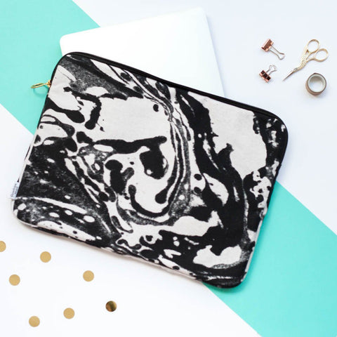 Mono Marble Laptop Case by Penelope Hope