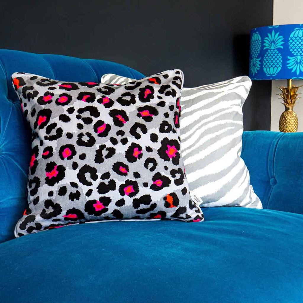 Grey Leopard Print Cushion