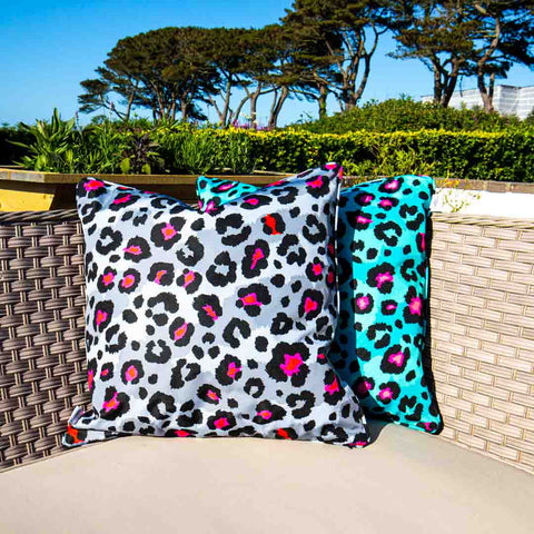 Grey Leopard Print Outdoor Cushion