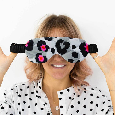 Grey Leopard Print Velvet Eye Mask