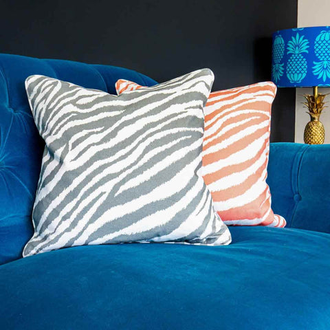 Grey Zebra Print Cushion