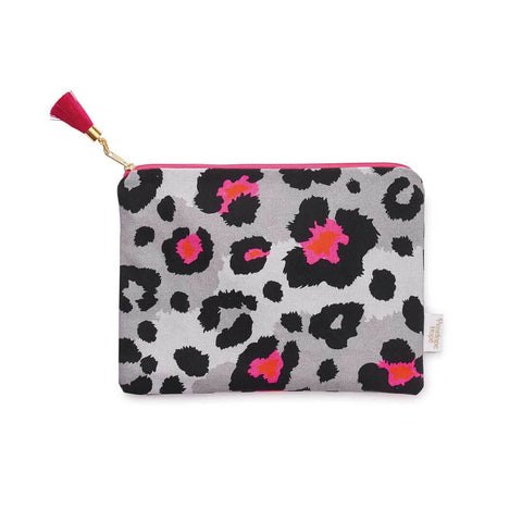 Grey Leopard Print Pouch Cut Out image