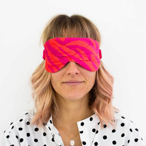 Pink and Orange Animal Print Eye Mask