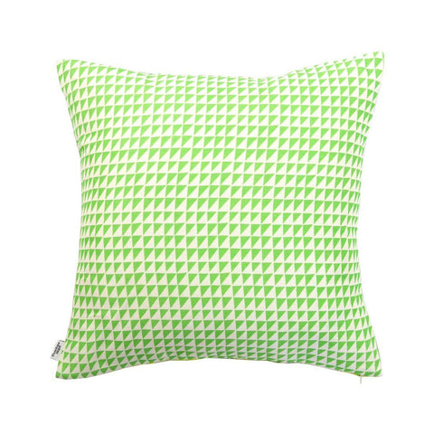 Penelope Hope Picking Coconuts Palm Tree Cushion Green Triangle reverse