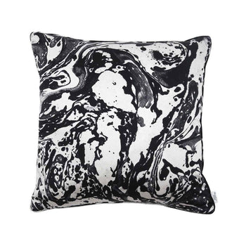Black & White Silk Marble Cushion Large | Penelope Hope
