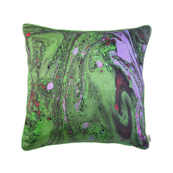 Green Malachite Marble Silk Cushion | Penelope Hope