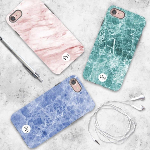 Blue, Pink and Green Marble iPhone Covers by Penelope Hope