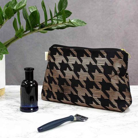 Black & Copper Dogtooth Men's Wash Bag