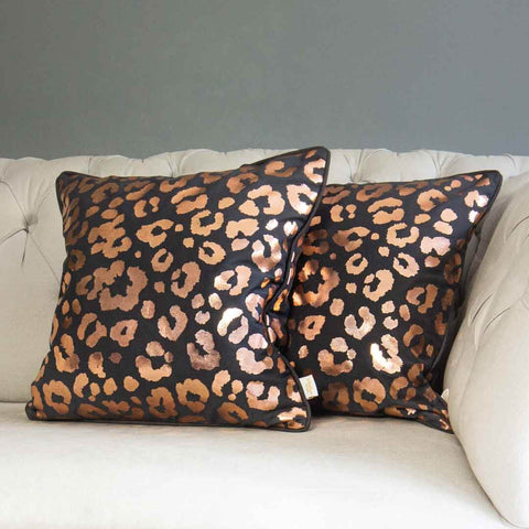 Rose Gold Leopard Print Cushion in Grey