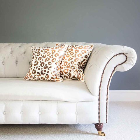 Rose Gold Leopard Print Cushion in White