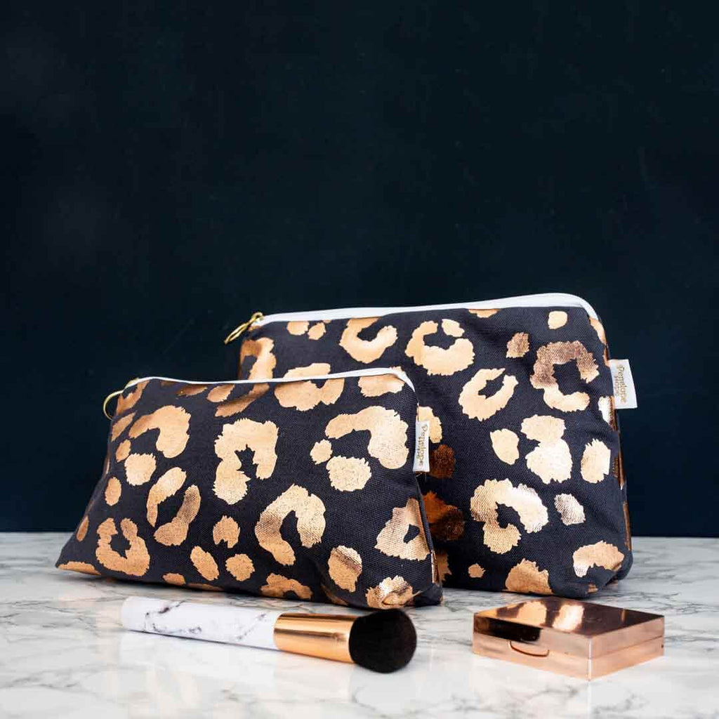 Rose Gold Leopard Print Makeup Bag in Grey