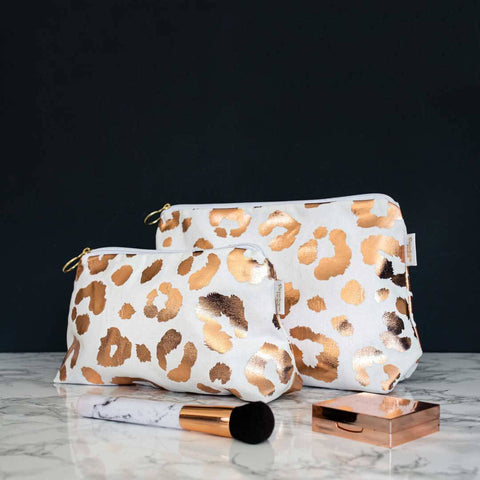 Rose Gold Leopard Print 'Weekend Away' Wash Bag in White