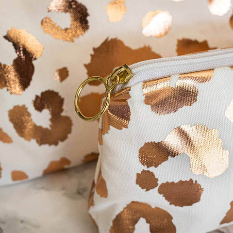 Rose Gold Leopard Print Makeup Bag in White