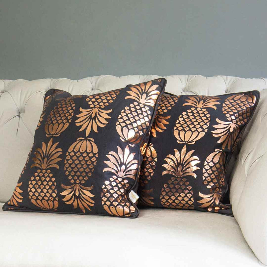 Rose Gold Pineapple Cushion in Grey