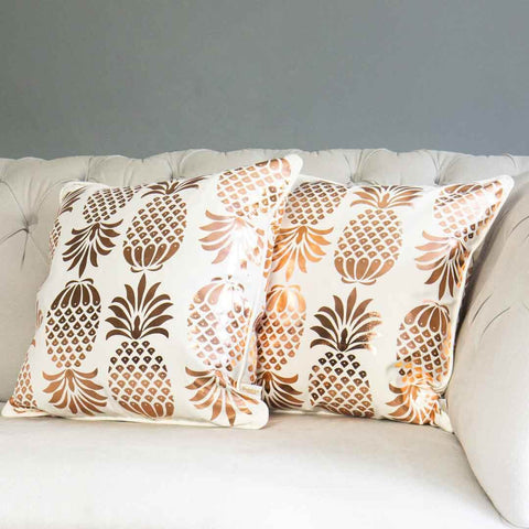 Rose Gold Pineapple Cushion in White