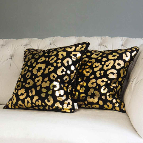 Gold Leopard Print Cushion in Black