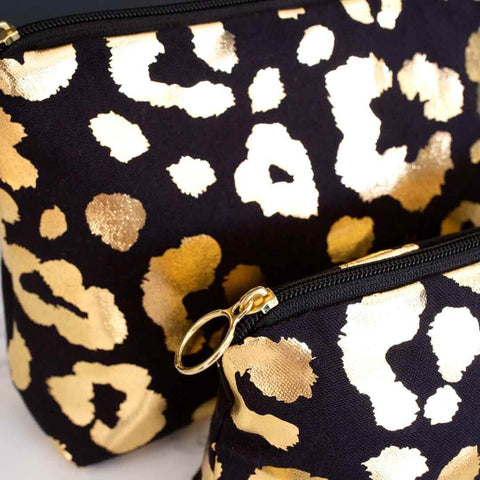 Gold Leopard Print 'Weekend Away' Wash Bag in Black