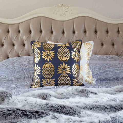 Gold Pineapple Cushion in Grey
