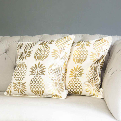 Gold Pineapple Cushion in White
