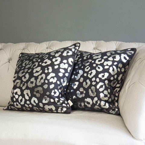 Silver Leopard Print Cushion in Grey