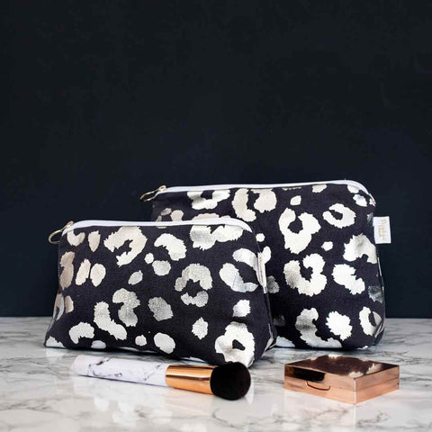 Silver Leopard Print Makeup Bag in Grey