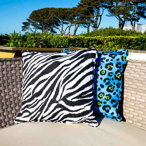 Mono Zebra Print Outdoor Cushion