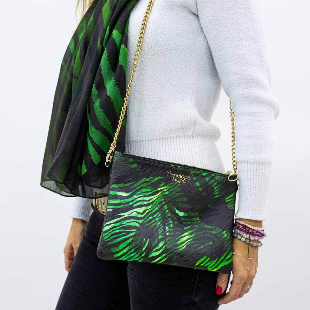Leather Crossbody Bag with Chain Strap