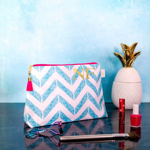 Personalised Chevron Blue Waterproof Wash Bag Medium | Penelope Hope