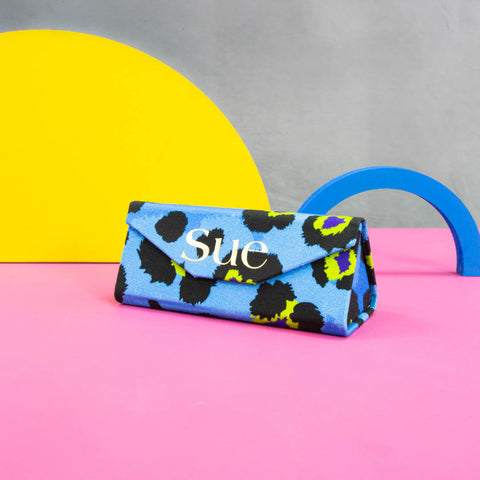 Personalised Sunglasses Case in Blue Leopard Print