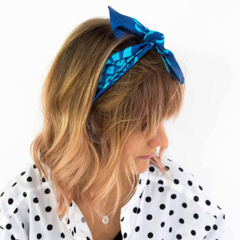 Blue Pineapple Silk Headscarf