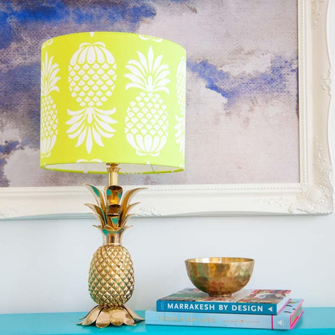 "(12"" x 25cm) Pineapple Lampshade in Chartreuse Yellow by Penelope Hope"