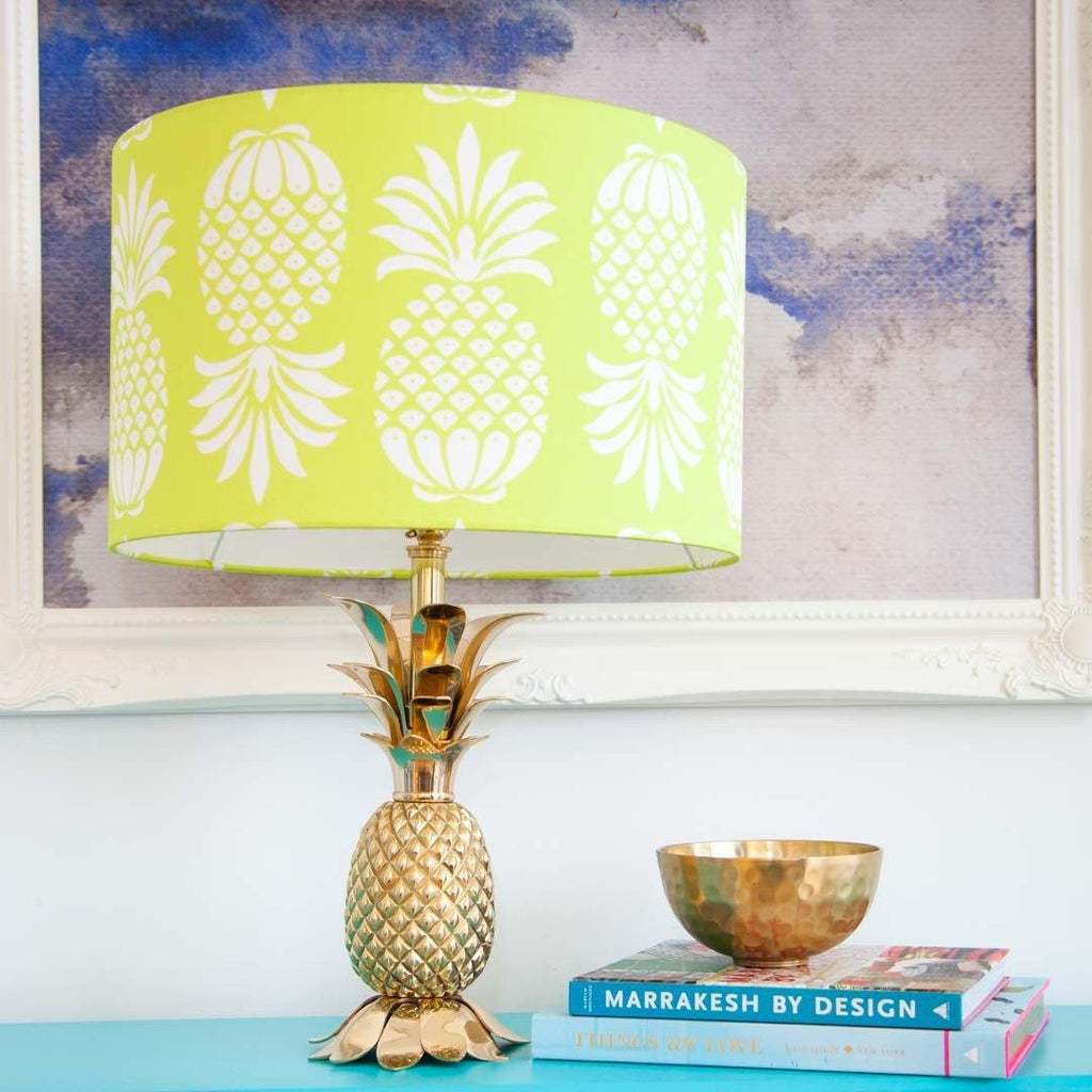 Large Pineapple Lampshade in Chartreuse Yellow by Penelope Hope