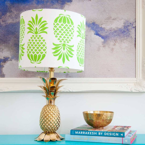 "12"" Pineapple Drum Lampshade in Green by Penelope Hope"